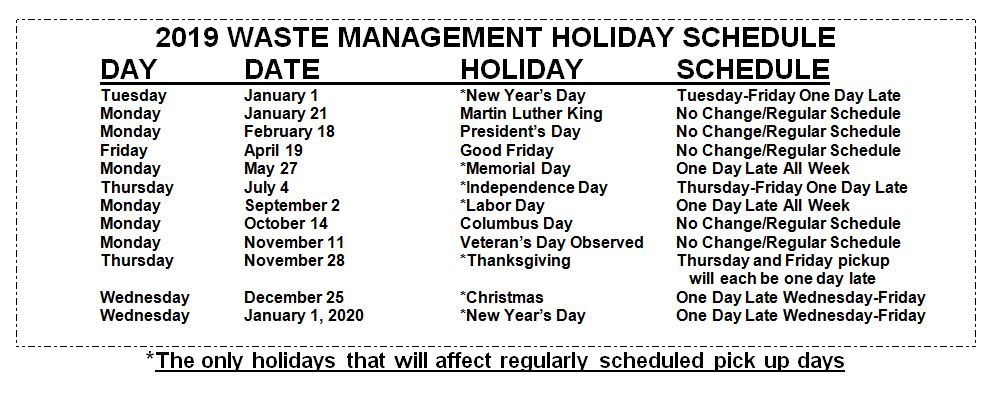 2019 WM Holiday Schedule