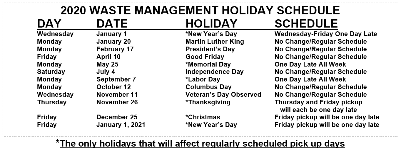 Wm Holiday Schedule 2020 Christmas Garbage | City of Joliet, IL